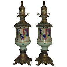 Pair 19th c. Chinese Export Celadon Famille Verte Lamps Antique Asian Porcelain & Bronze