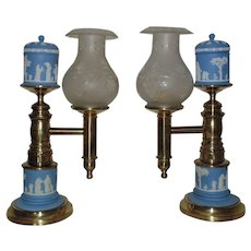 RARE Pair Antique Argand Lamps Blue Wedgwood Jasperware & Brass Wedding Motif Neo-Classical