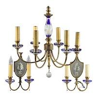 Antique Bohemian Chandelier & Pair of Sconces Cobalt Blue Cut to Clear Glass & Brass Czechoslovakia Czech Light Fixture