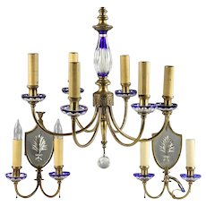Antique Bohemian Chandelier & Pair of Sconces Cobalt Blue Cut to Clear Glass & Brass Czechoslovakia Czech Light Fixture