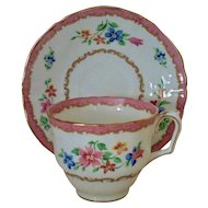 8 Vintage Crown Staffordshire Tea Cups & Saucers Pattern F16165 Floral Flowers Pink & White