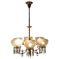 Fancy Antique Brass Gas Chandelier Converted to Electric 6 Light Fixture Gasolier Victorian