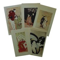 5 Vintage Japanese Art Prints Asian
