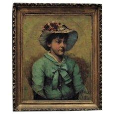 19th c. Victorian Portrait Painting Girl Child Oil on Canvas Charles Knighton Warren Antique c. 1876 British School
