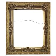 """FANCY 19th c. Victorian Picture Frame Gilt Wood & Gesso Antique 16"""" x 20"""" Opening for Painting or Print"""