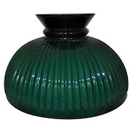 "Lamp Shade Green Cased Glass Ribbed for Student Rayo Aladdin Lamp 10"" Fitter"