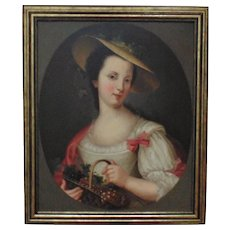19th c. French Portrait Painting Lady Woman Oil on Canvas Antique