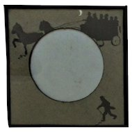 """19th c. Silhouette Picture Frame for Miniature Portrait 3"""" Diameter Opening Victorian Antique"""
