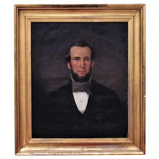 19th c. Portrait Painting of a Handsome Gentleman Man Oil on Canvas American School Antique