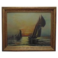 Antique Painting Sailing Ships at Sunset Nautical Sail Boats Seascape Oil on Board Signed M. E. McNally