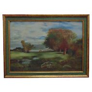Vintage Landscape Painting Oil on Board