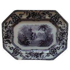 19th c. Mulberry Ironstone Platter Davenport Cyprus Staffordshire English Antique Transferware