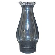 "19th c. Lamp Chimney Oil or Kerosene Clear Glass Lasagne Rim Antique Hand-Blown 3"" Fitter Shade"