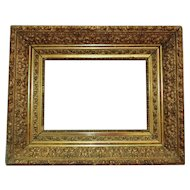 """19th c. Ornate Baroque Style Picture Frame Deep Gilt Wood & Gesso for Painting Print Antique 9 1/4"""" x 13"""" Opening"""