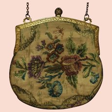Antique Silk Victorian Purse Handbag Botanical Roses