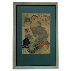 Vintage Woodblock Print Japanese Chinese Asian  Geisha Girls Signed