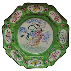 Antique Chinese Export Cloisonne Charger - Maku - Goddess of Eternal Youth - Asian Cabinet Plate