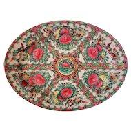 Vintage Chinese Export Rose Medallion Porcelain Platter Asian