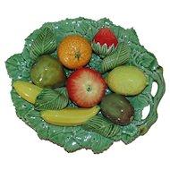 Vintage Italian Fruit Bowl Basket Majolica Faience Italy