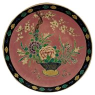 LARGE Chinese Hand-Enameled Charger Plate Basket of Flowers