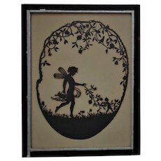 19th c. Cut Paper Silhouette Fairies Nymphs Antique Folk Art Nouveau