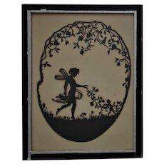 19th c. Cut Paper Silhouette Fairies Nymphs Antique Folk Art Nouveau