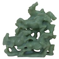 Antique Chinese Export Carved Green Soapstone Horses Statue Asian