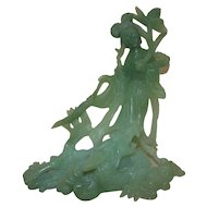 Antique Chinese Export Green Jade Statue Kwan Yin Guan Yin & Dragon Asian