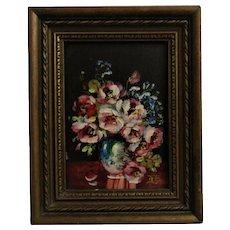 Antique Miniature Oil Painting Roses Still Life Garden Flowers Signed Glenn Bastian
