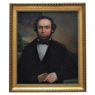 19th c. Portrait Painting Gentleman Husband Oil on Canvas Antique American School