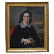 19th c. Portrait Painting Lady Woman Wife Oil on Canvas Antique American School