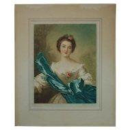 Antique Mezzotint Engraving Print Portrait Lady Woman After Jean Marc Nattier