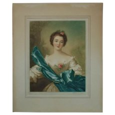 Antique Mezzotint Engraving Print Portrait Lady Woman After Jean Marc Nattier