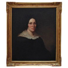 19th c. Portrait Painting Woman Lady Oil on Canvas American School Antique Victorian