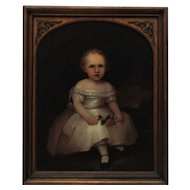 19th c. Portrait Painting Girl Child Oil on Board Antique Victorian