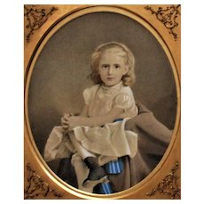 19th c. Portrait Painting of Girl Child Antique Victorian Watercolor Signed Scott