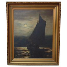 Antique Portrait Painting Ship Sailing in Moonlight Oil on Canvas Nautical Sailboat Seascape Signed & Dated