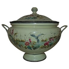 Antique French Victorian Enamel Ware Enamelware Soup Tureen Pot w/ Lid Swan Dragonfly Flowers