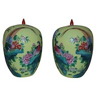 Pair of Chinese Yellow Ginger Jars Birds of Paradise Butterflies Flowers Asian Porcelain