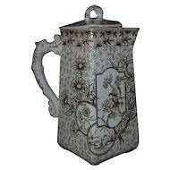 19th c. Brown Transferware Coffee Pot Aesthetic Eastlake Devonshire by Ridgways English Staffordshire Birds Ducks Flowers