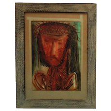 Watercolor Portrait Painting of Jesus w/ Crown of Thorns Elemer Polony Hungarian Modernist Modern Art Religious