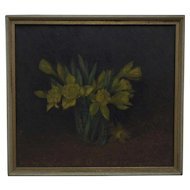 Antique Yellow Daffodils Painting Still Life Oil on Board Flowers Floral