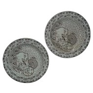Pair of 19th c. Soup Bowls Brown Transferware Aesthetic Eastlake Ridgways Devonshire English Antique Birds & Flowers