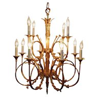 Magnificent LARGE Brass Chandelier for Hall Entryway Store or Business French Horn Ribbons Bows 12 Lights