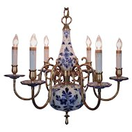 Gorgeous Delft Chandelier Blue & White Porcelain & Brass Marked Holland 6 Lights