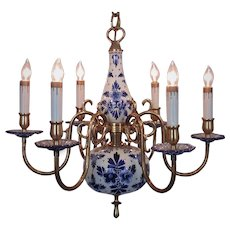 Gorgeous Delft Chandelier Blue & White Porcelain & Brass Marked Holland 6 Lights
