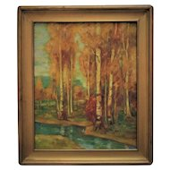 Arts & Crafts Era Oil Painting Birch Trees Landscape Mission Bungalow Expressionist