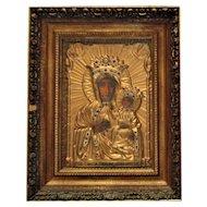 Vintage Polish Religious Icon Madonna & Child Virgin Mary & Jesus
