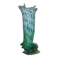 Mid Century Modern Glass Vase Hand-Blown Signed Ocean Wave Vintage