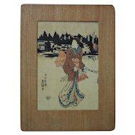 Antique Japanese Geisha Girl Woodblock Print c. 1850 Toyokuni III a.k.a. Kunisada Asian